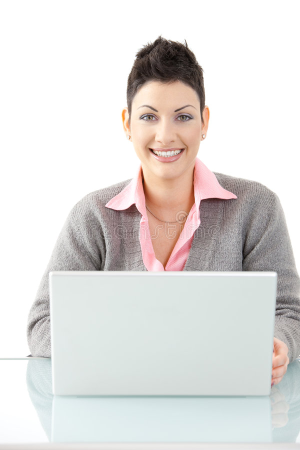 Businesswoman working with laptop stock photos