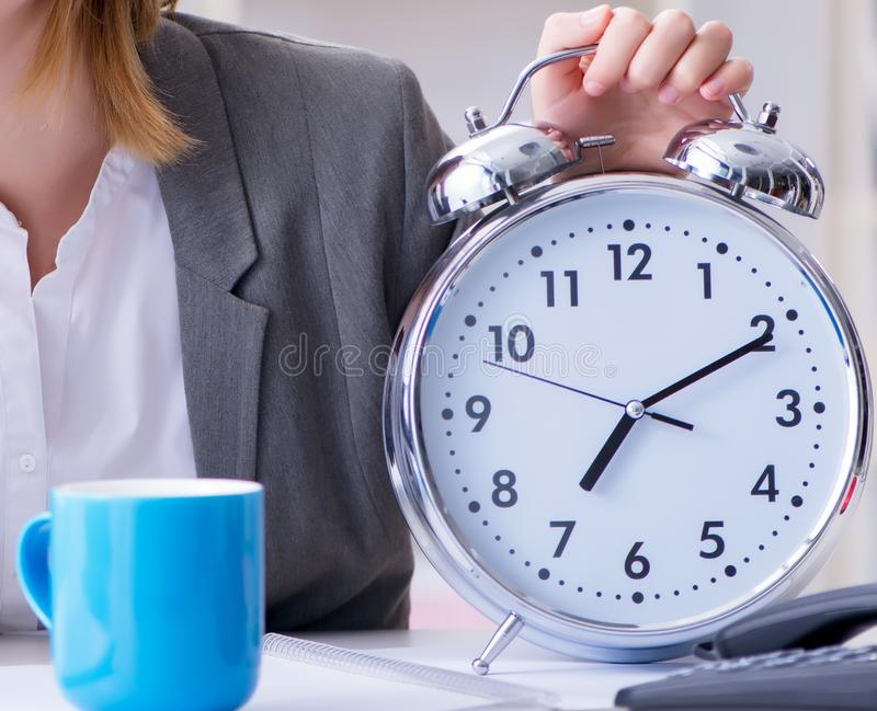 Businesswoman working in the office. The businesswoman working in the office royalty free stock image