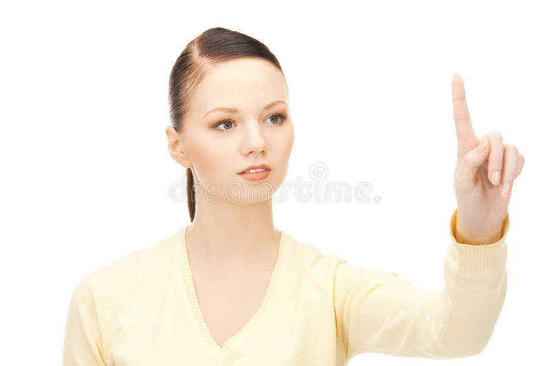 Download Businesswoman Working With Something Imaginary Stock Photo - Image: 19142718