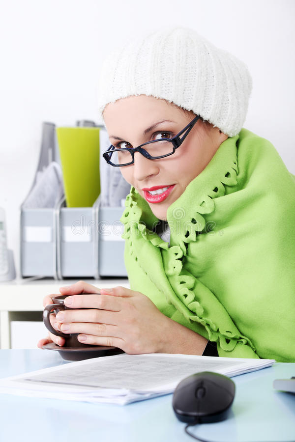 Download Businesswoman Wrapped On Blanket Feeling Cold. Stock Image - Image of face, attractive: 21992915
