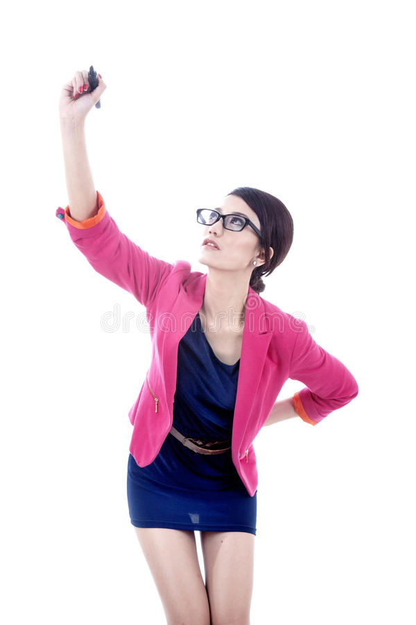 Download Businesswoman Writing On Copy Space Stock Photo - Image: 24562506