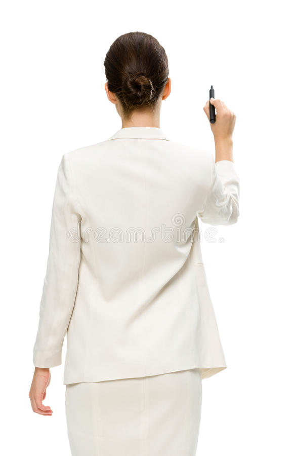 Download Businesswoman Writing On Imaginary Screen Stock Image - Image: 33914509
