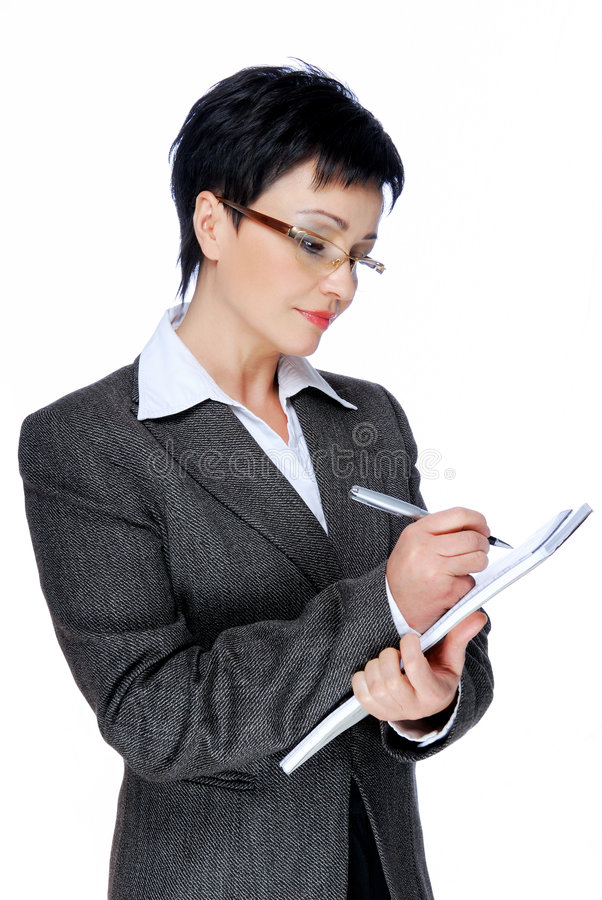 Download Businesswoman  Writing Note Stock Image - Image: 7669505