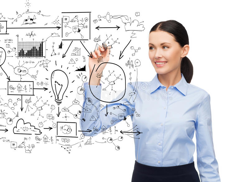 Businesswoman writing plan in the air. Office, business and new technology concept - businesswoman writing plan in the air with marker stock photos
