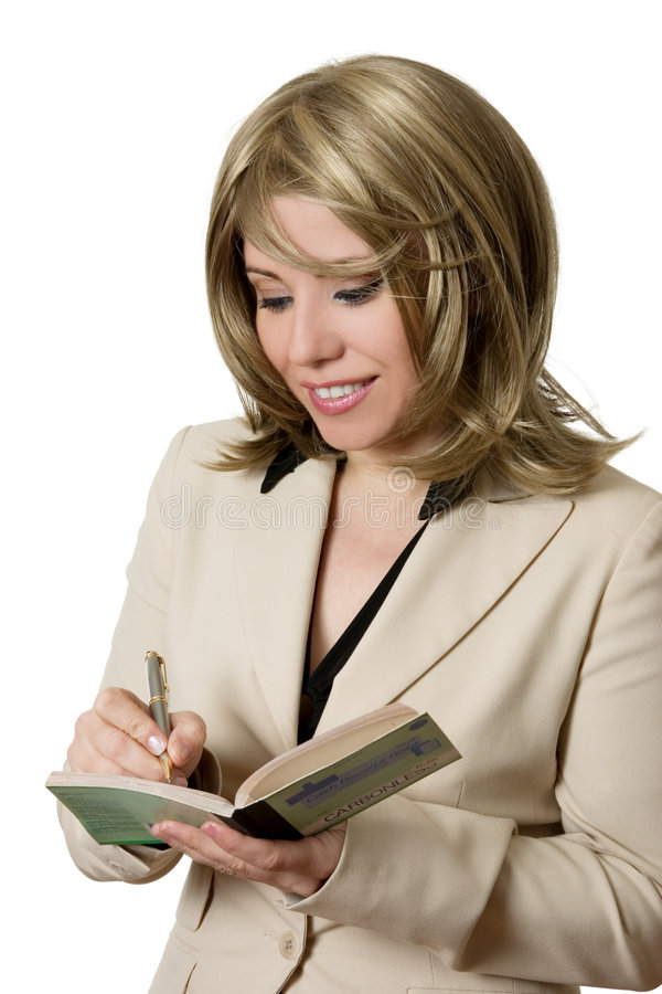 Businesswoman writing receipt stock photography