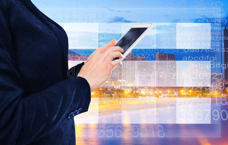 Businesswoman writing sms. On the screen of new phone royalty free stock photos
