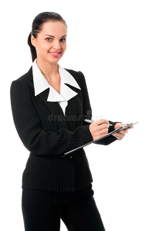 Businesswoman writing, on white royalty free stock photos