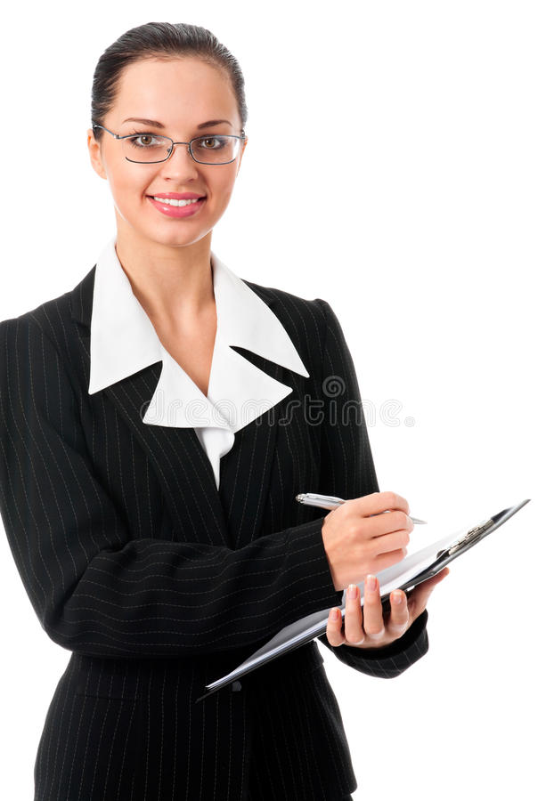 Businesswoman writing, on white royalty free stock photo