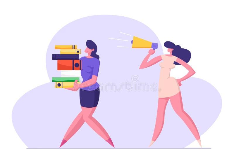 Businesswoman Yelling in Loudspeaker on Woman Office Worker Carrying Big Steak of Document Files. Deadline royalty free illustration