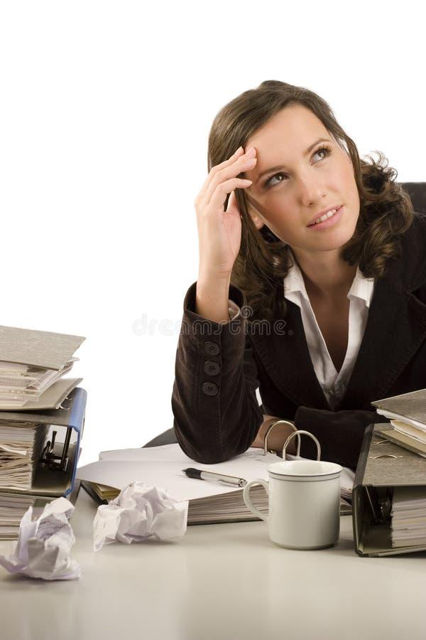 businesswoman zadumany fotografia stock