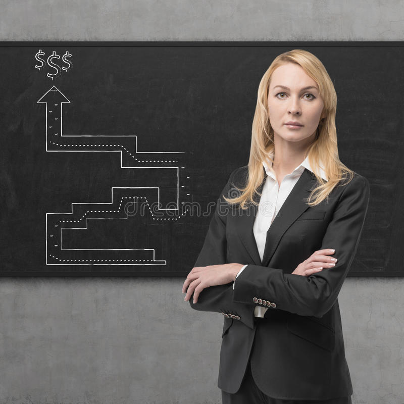 Businesswomen. And drawing a way out of labyrinth royalty free stock image