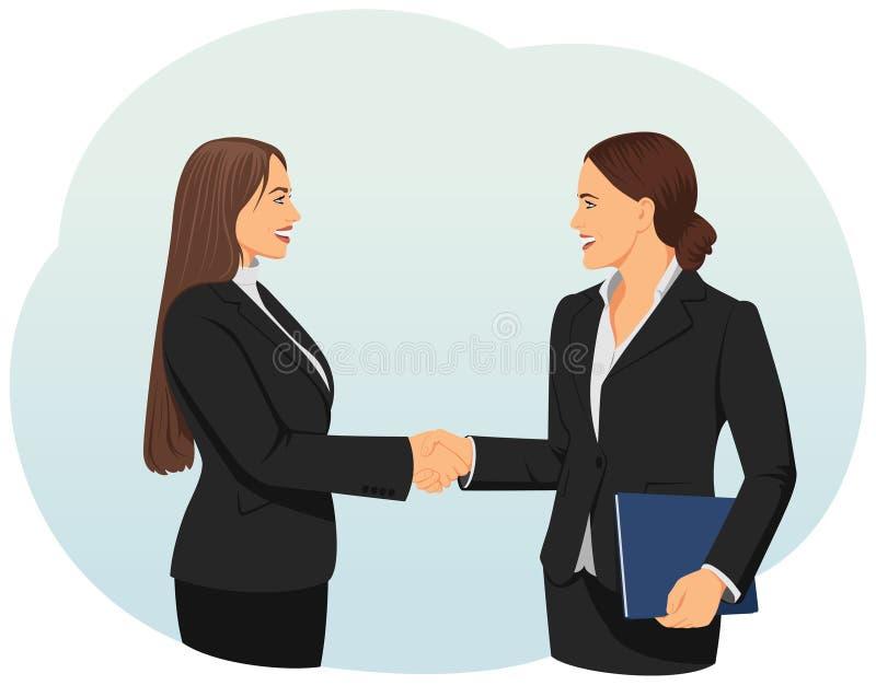 Businesswomen handshake. Two businesswomen giving handshake in an office. Teamwork and cooperation stock illustration
