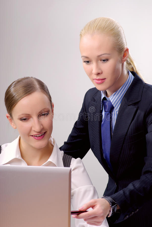 Businesswomen in office at work stock images