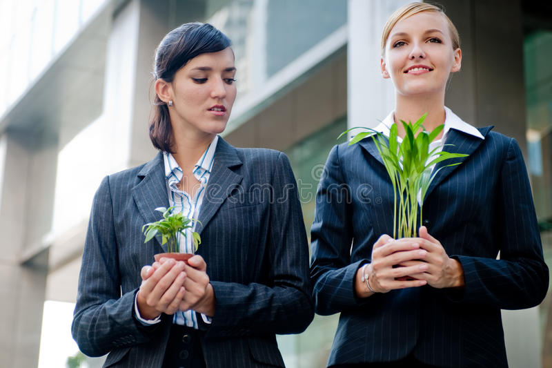 Businesswomen with Plants. Two competitive businesswomen cupping their plants in their hands stock photo