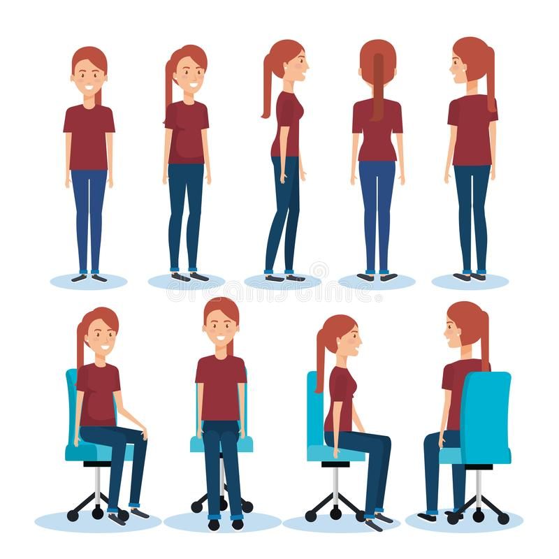 Businesswomen posing on office chair and stand. Vector illustration design royalty free illustration