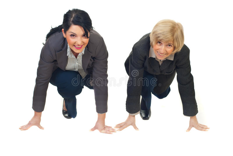 Businesswomen ready to start competition stock photo
