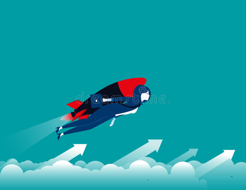 Businesswomen with rocket and flying up. Concept business illustration. Vector flat royalty free illustration