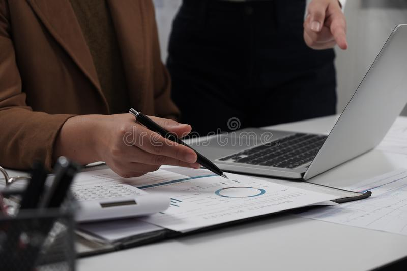 Businesswomen working together in office teamwork brainstorming accounting business concept royalty free stock photography