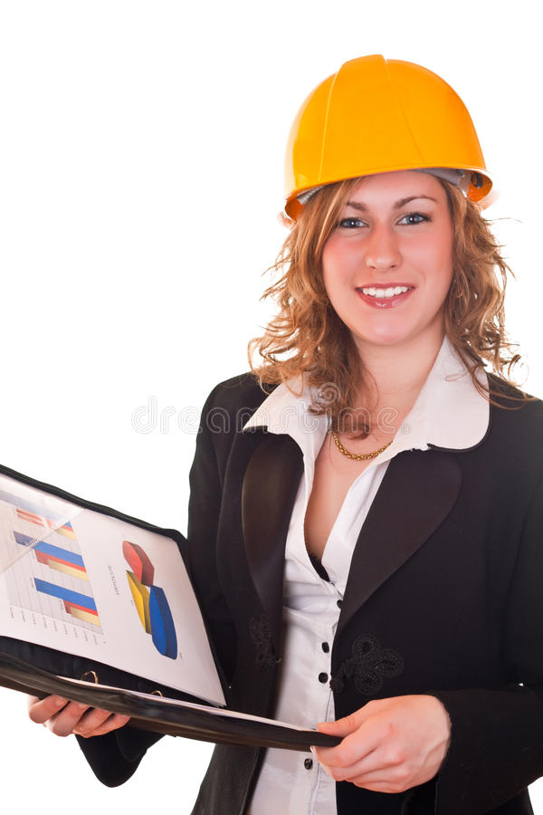 Businesswomna with helmet and documents royalty free stock photo