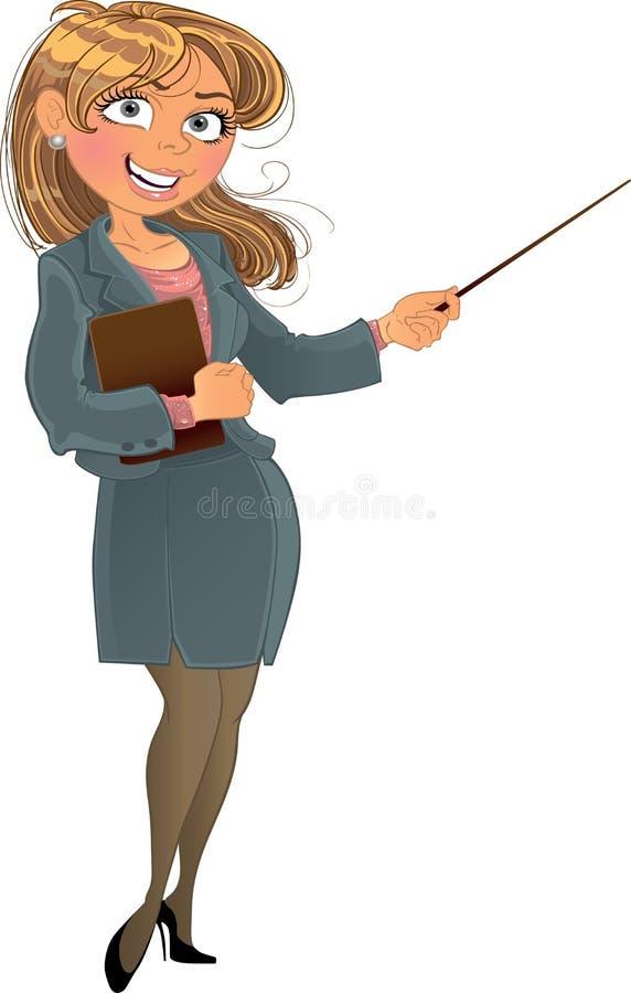 Businesswuman con el puntero stock de ilustración