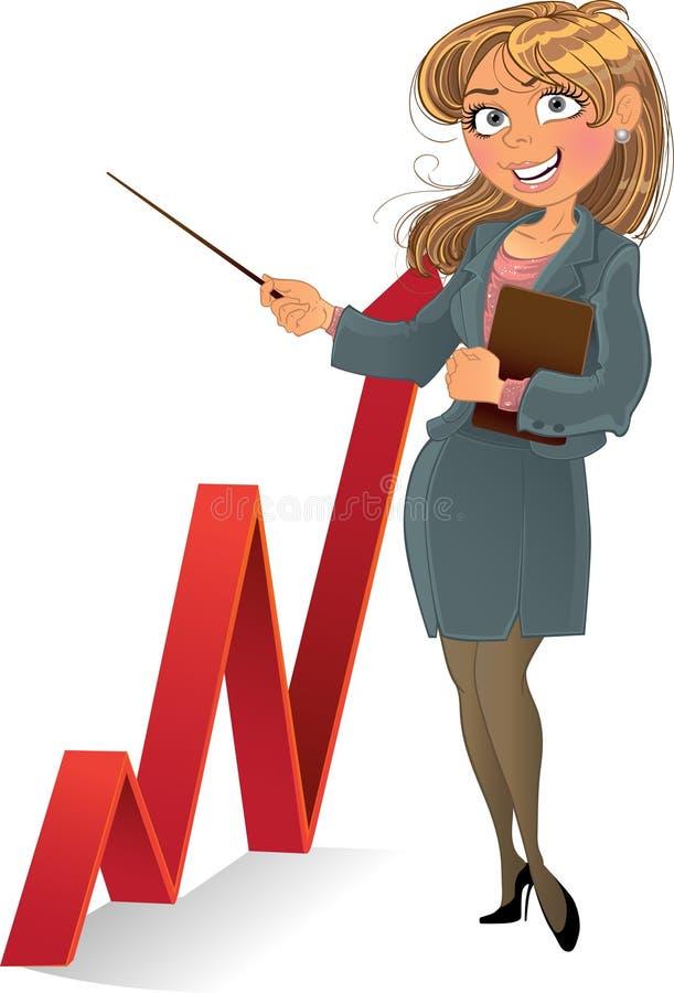 businesswuman diagram businesswuman czerwień ilustracja wektor
