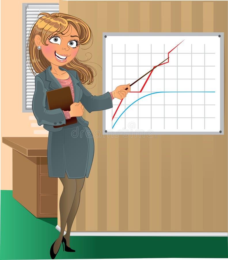 Businesswuman mit Nadelanzeige im Büro stock abbildung