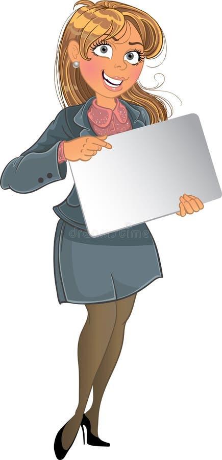 Businesswuman mit Text- oder Zeichenhintergrund stock abbildung