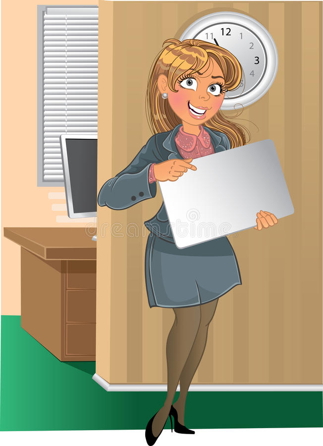 Businesswuman mit Text- oder Zeichenhintergrund im offi lizenzfreie abbildung