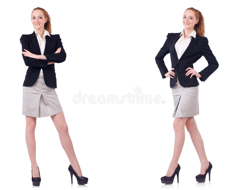The busineswoman isolated on the white background. Busineswoman isolated on the white background royalty free stock photo