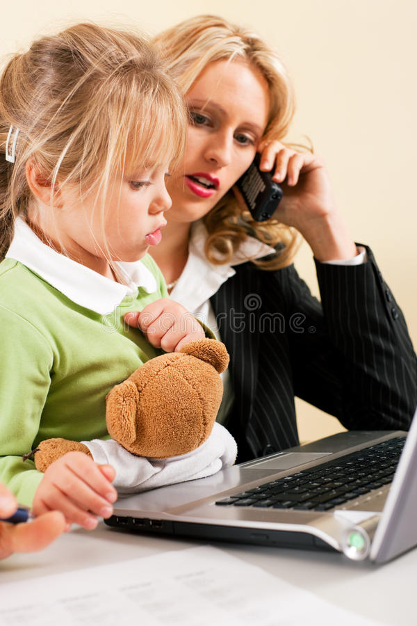 Busineswoman and mother cannot take it all royalty free stock photos