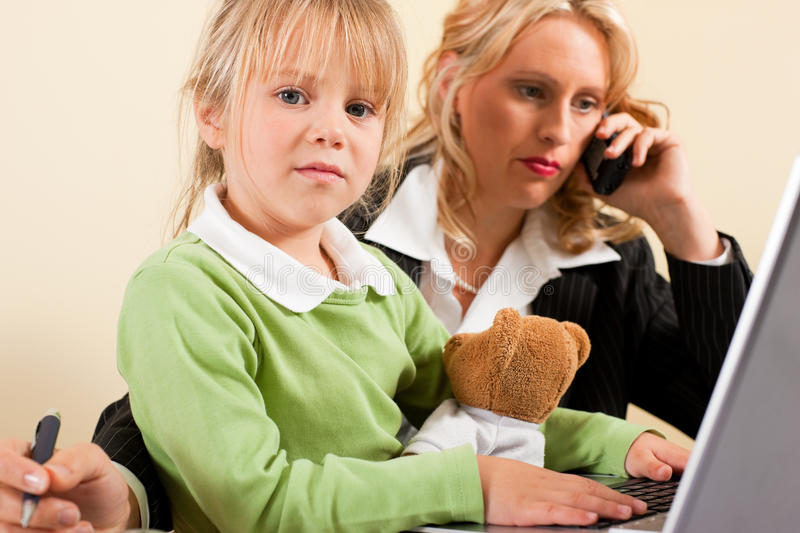 Busineswoman and mother cannot take it all stock photo