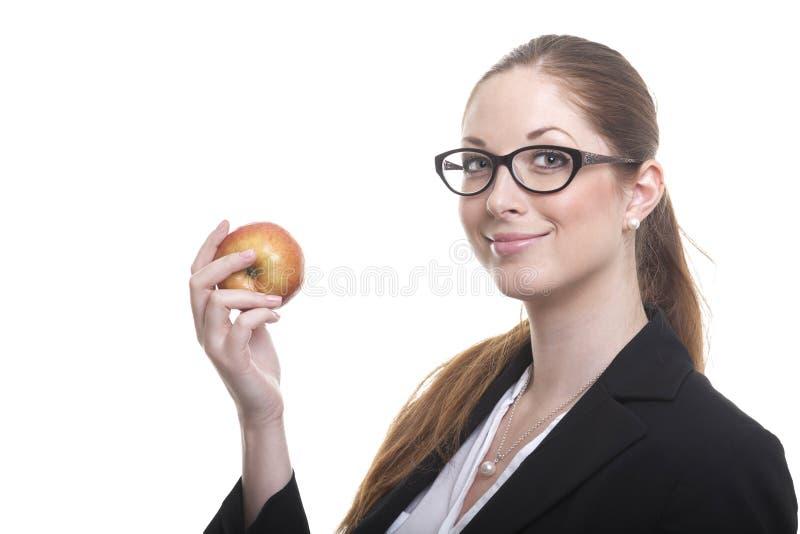 Businnes dam med äpplet royaltyfri bild