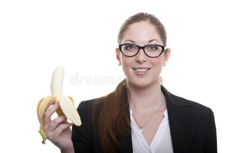 Businnes dam med bananen arkivbilder