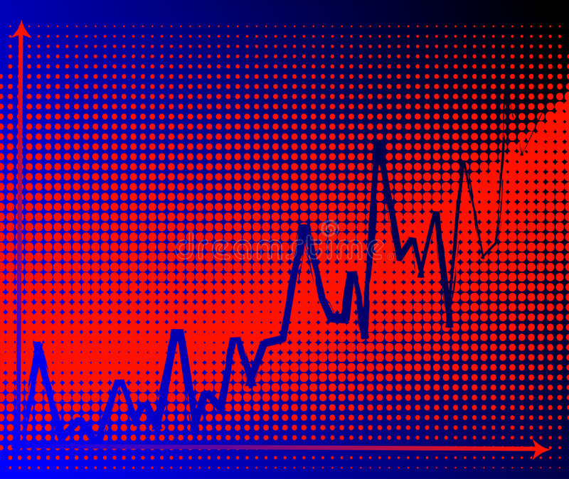 Businnes graph. Financial rise - illustration with halftone background royalty free illustration