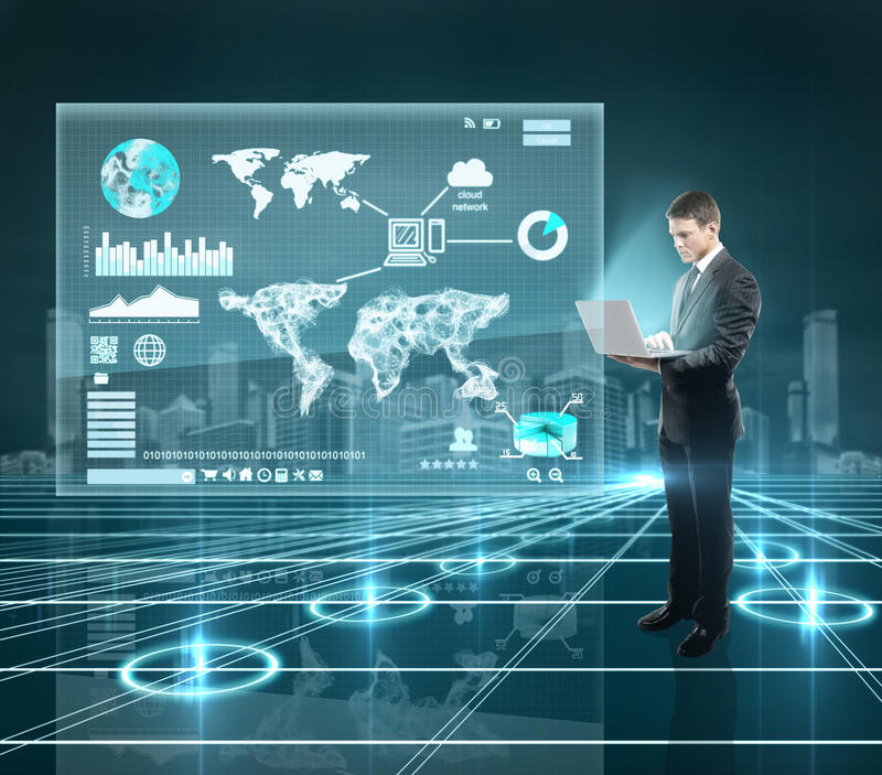 Download Businnesman and  interface stock image. Image of screen - 28636637