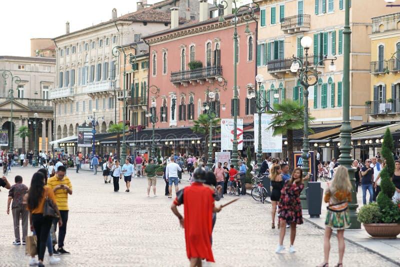 Busker dressed as a gladiator, Verona, Italy stock photos
