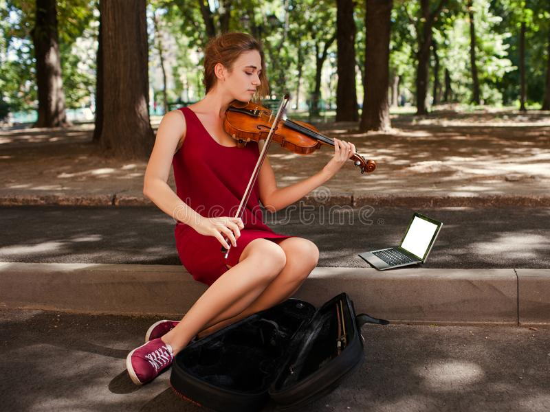 Busker musical performance art hobby stock images