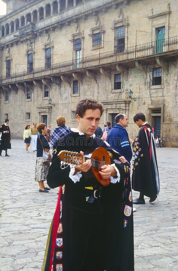 Busker in the Square of La Quintana Santiago Spain royalty free stock photos