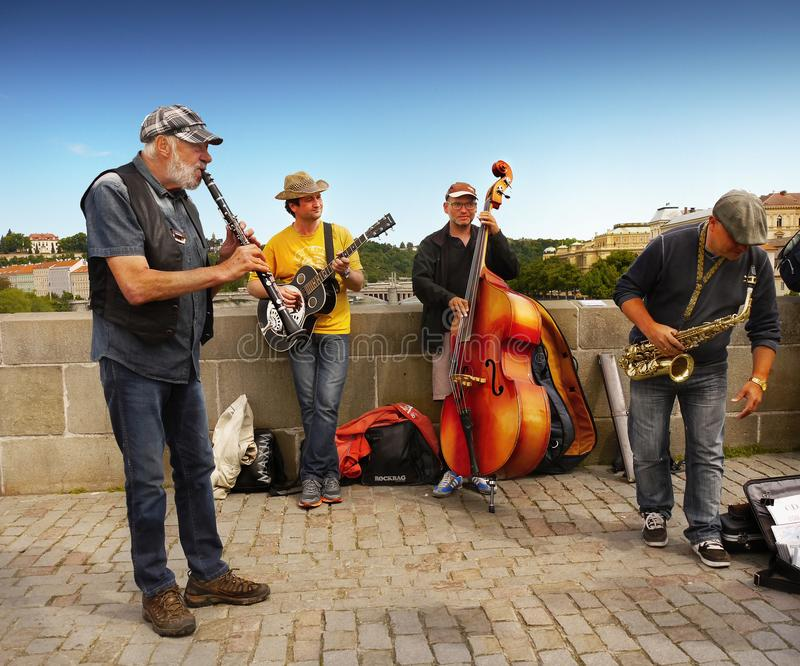 Buskers Prague Old Town, Czech Republic royalty free stock image