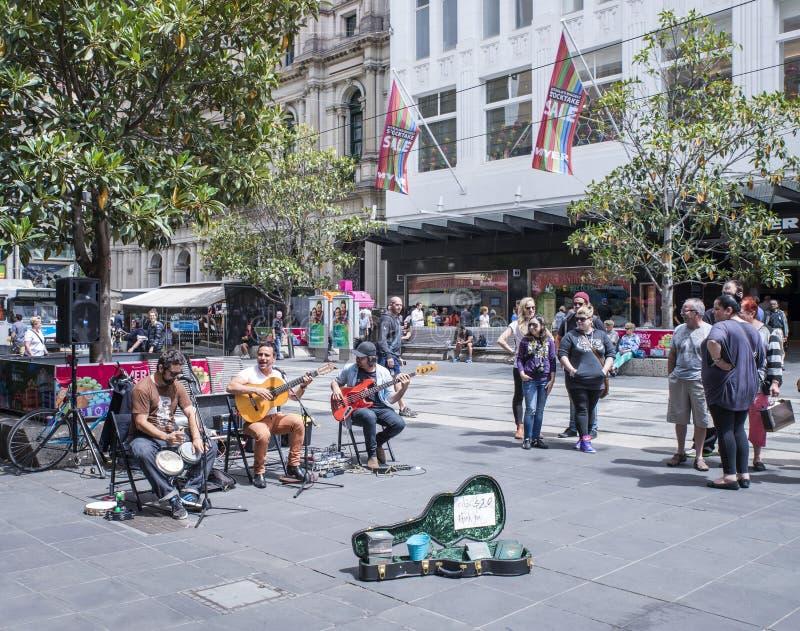 Buskers Entertaining In Bourke Street Mall, Melbourne, Australia. stock image