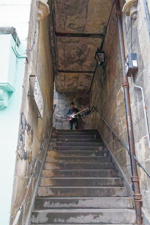 Busking Edinburgh-Musiker stockbild