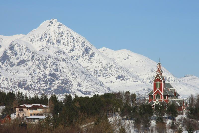 Busknes church II. The church of busknes in the village ogf Gravdal Lofoten islands royalty free stock images