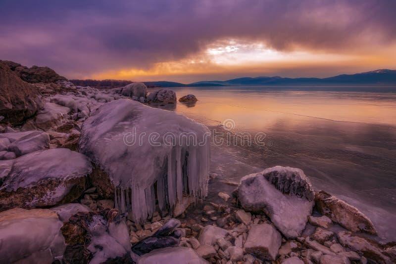 冻Busko湖 库存照片