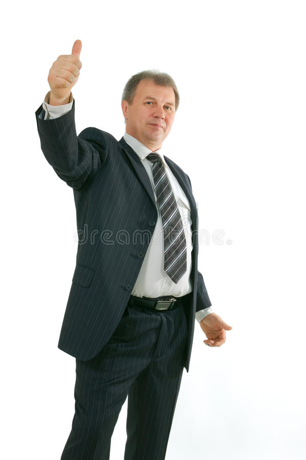 Busnessman com polegares acima imagens de stock