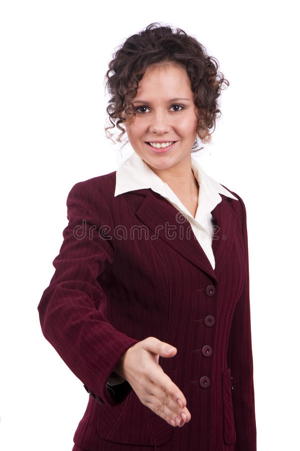 Busnesswoman allant serrer votre main. image libre de droits