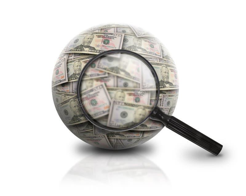 Busque la bola del dinero de las finanzas en blanco fotografía de archivo