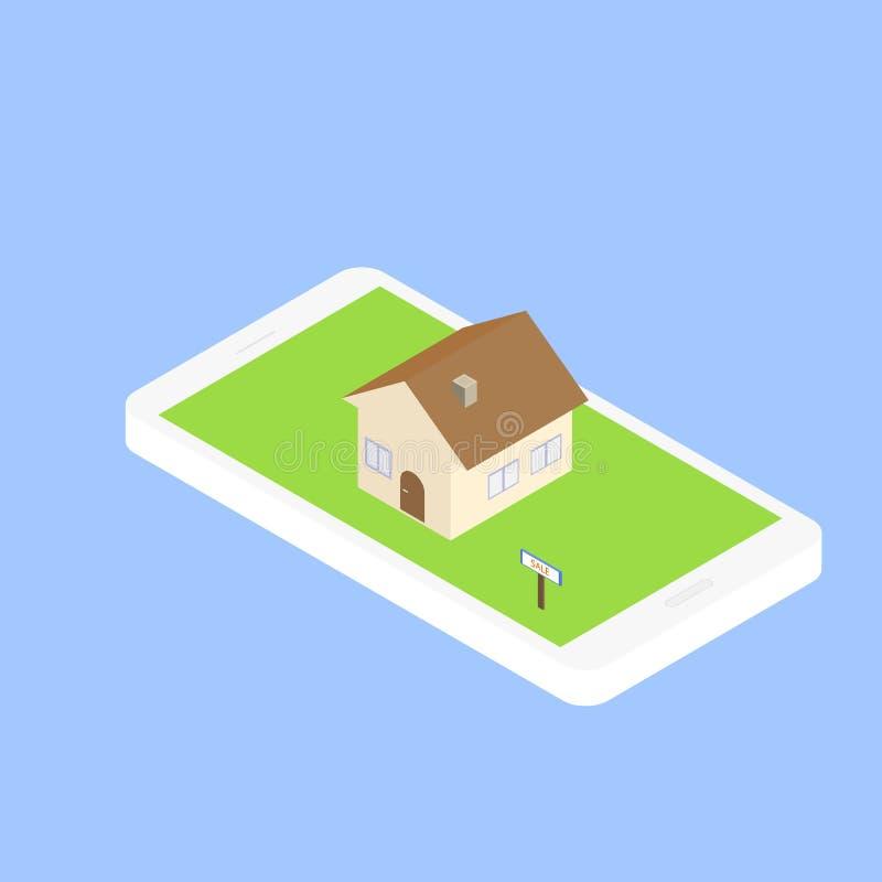 Busque para las propiedades inmobiliarias vía Internet con su smartphone ilustración del vector