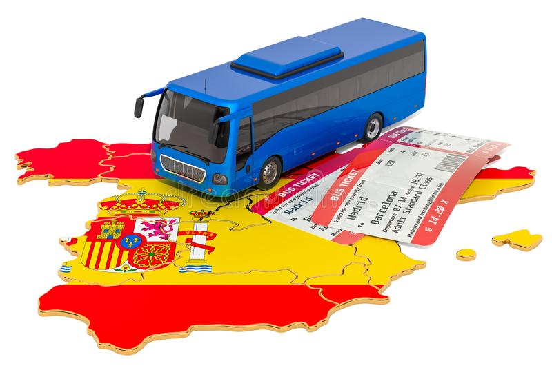 Busreis in Spanje, concept het 3d teruggeven stock illustratie