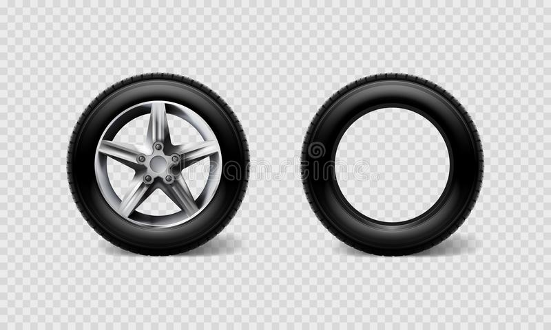 Buss för däck för uppsättning för hjul för bil för materielvektorillustration realistisk, lastbil som isoleras på genomskinlig ru stock illustrationer