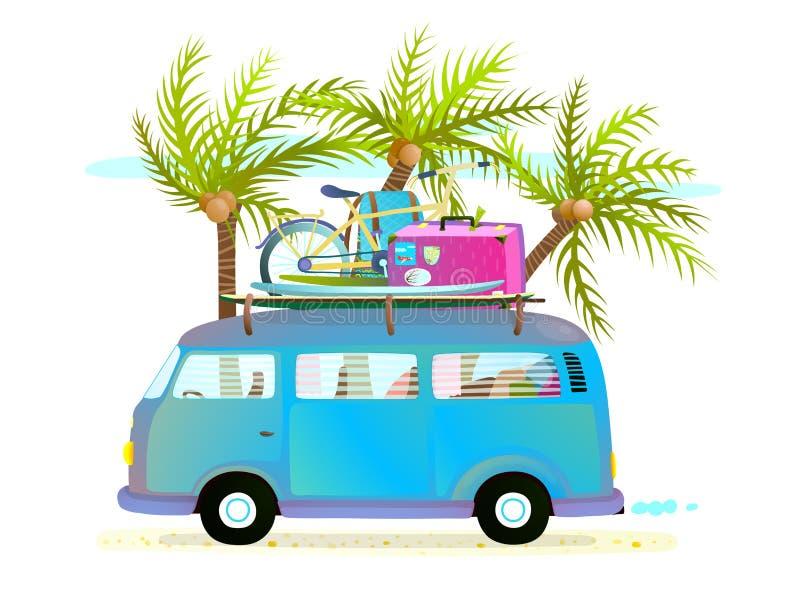 Buss för feriesommartur för tropisk semester för strand med bagage vektor illustrationer